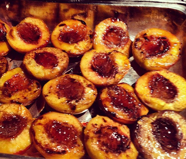 Roasted Peaches with Ginger & Maple Syrup