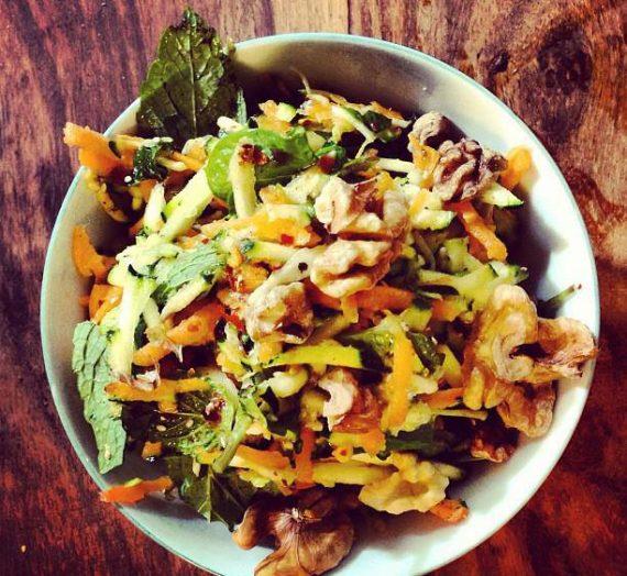 Shredded Carrot 'n' Zucchini Salad with Walnuts & Mint