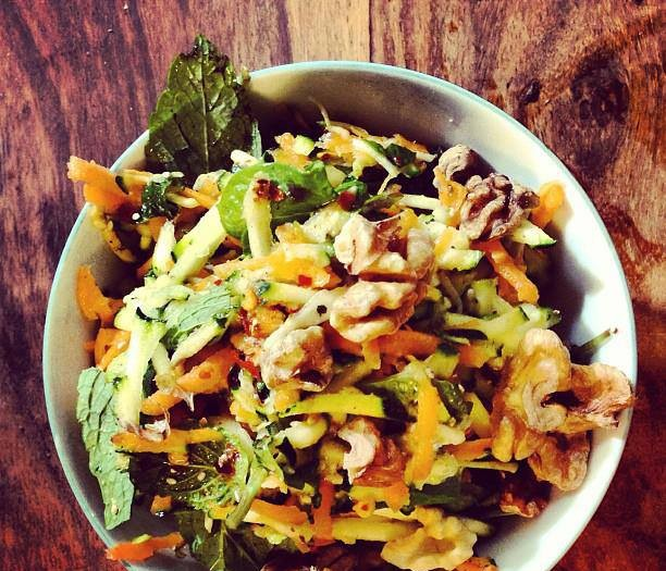 Shredded Carrot 'n' Zucchini Salad with Walnuts & Mint