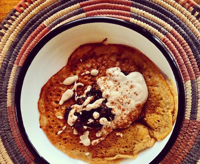 Sweet Potato Pancakes w. Huckleberries & Cinnamon Cashew Cream