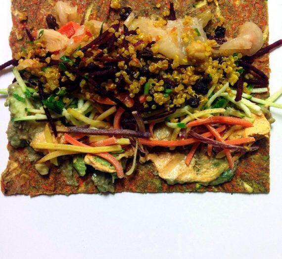 Raw Zucchini, Carrot + Walla Walla Onion Wraps