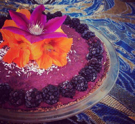 Raw Blackberry Cream Pie w/ Cocoa Date Crust
